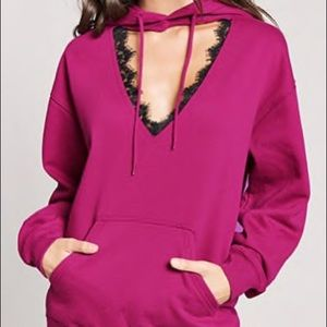 Cut out lace trim pink hoodie